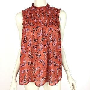 Anthropologie Maeve Red Lion Print Chiffon Top